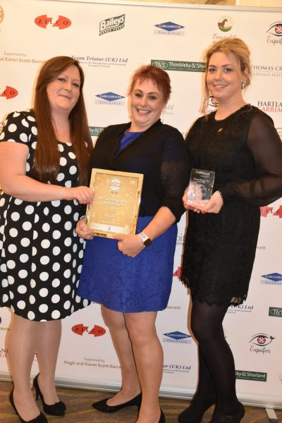 Scarlett Moon, Caroline Furse and Abigail Alford-Thurlow  with Rupert's award