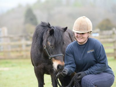 April. Adoption Pony with Groom Gemma Bygraves. Copyright The Mare and Foal Sanctuary